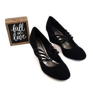 Impo Black Faux Suede Wedges